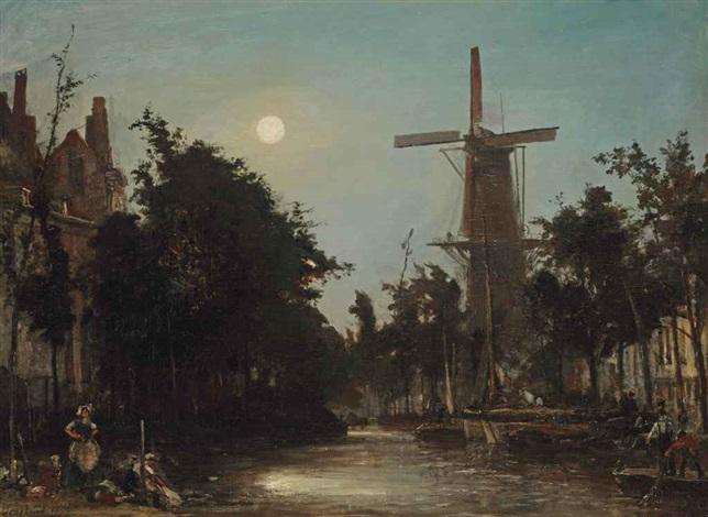 lavandières au bord du canal près de rotterdam by johan barthold jongkind