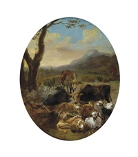 a wooded mountainous landscape with cattle and sheep at rest, a drover beyond by adam de colonia