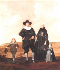 portrait of a west frisian couple with their two children by herman mijnerts doncker
