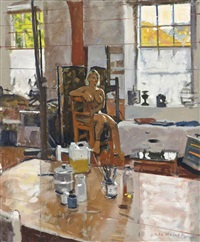 seated nude in a studio by ken howard