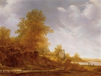 river landscape with figures fishing in the distance by jacob van mosscher