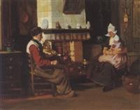holländische bauernfamilie in der küche by rudolf possin
