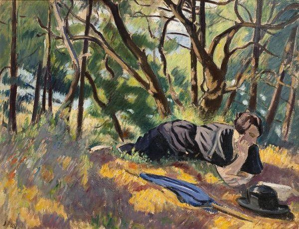 jeune femme lisant dans la forêt by jean puy