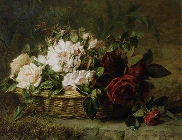 roses in a basket by adriana johanna haanen
