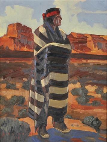 Navajo In First Phase Chiefs Blanket By Dennis Ziemienski