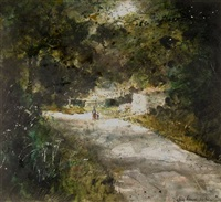 untitled (wooded country lane with mother and child hand in hand) by john knapp fisher