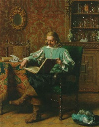 a cavalrist reading in a seventeenth century interior by lambertus lingeman