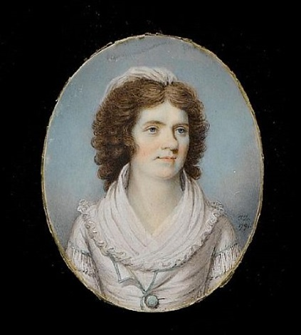 a lady wearing white dress and fichu the sleeves and bodice trimmed with white lace pale green ribbon and matching button by thomas day