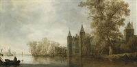 river landscape with a medieval fortification by jan josefsz van goyen