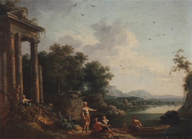 une famille de pêcheurs devant les ruines dun temple by jean baptiste charles claudot