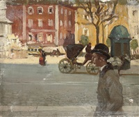 figures in a city street by norman garstin