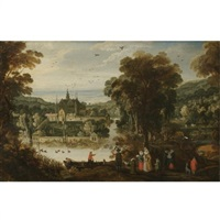 a landscape with a moated palace, and figures awaiting the ferry on the near side by philips de momper the younger