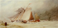 a topsail schooner and other vessels in dutch waters by alfred herbert