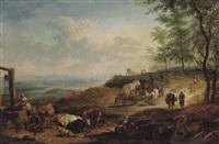 weite, bewaldete landschaft mit reisenden und hirten by jacob van der bent
