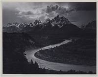 the tetons and snake river, grand teton national park, wyoming by ansel adams