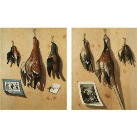 a still life with a hen pheasant finches and a jay hanging from a wooden backdrop with a bavarian game card a penknife and a letter a cock pheasant songbirds and a jay hangi by joseph marquard jol nathan treu