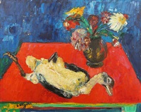 nature morte au canard et fleurs by bernard lorjou