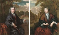 portrait of a gentleman in a dark robe and a white chemise, seated on a balcony, a country house beyond (+ portrait of a lady in a brown robe, a white chemise and a black wrap and headdress; pair) by christoffel lubieniecki
