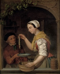 a young woman holding a herring, standing with a boy in a window by adriaen de lelie