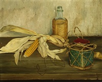 still life with corn cob by harry van kruiningen