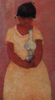jeune fille sur fond rose by calixte henri