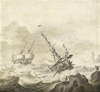 shipping on a stormy sea by adriaen van salm