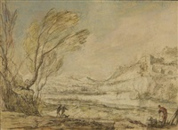 paysage fluvial animé by pierre antoine patel