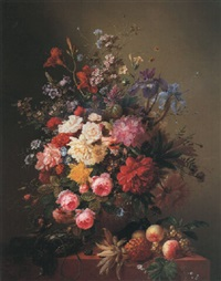summer flowers in an urn with fruit and game on a marble ledge by arnoldus bloemers