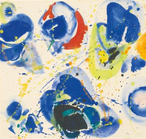 blue with red, yellow and orange by sam francis