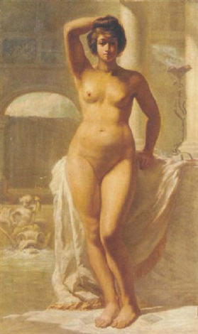a female nude in a classical interior by médard tytgat