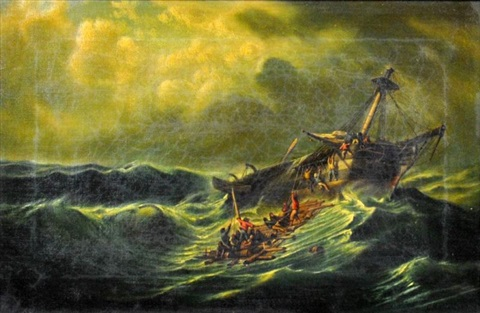 abandoning ship in the storm by charles euphrasie kuwasseg