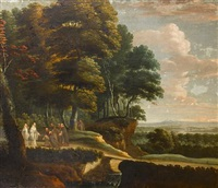 benedictine and franciscan monks in a river landscape by lucas achtschellinck