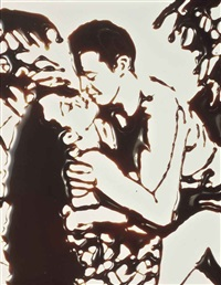 couple kissing in the tropics, from the series, 'pictures of chocolate', 1997 by vik muniz