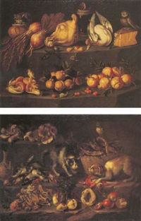 funghi, turnips, pomegranates and an owl perched on a basket of fish with crayfish and a wine bottle on a ledge, a cat and dog fighting by bartolomeo arbotori