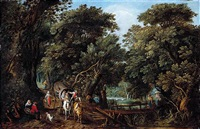 a forest landscape with travellers in a coach and washerwomen crossing a bridge by willem van den bundel