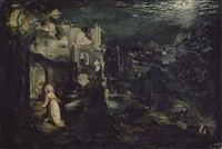 a moonlit landscape with classical ruins and the penitent magdalen by gillis van valckenborch