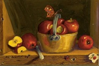 apples in old brass pot (+ 2 others, irgr; 3 works) by sondra lipton