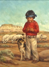navajo boy with dog by vel miller