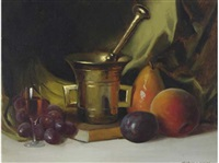 still life with fruit and mortars and pestle by herbert e. abrams