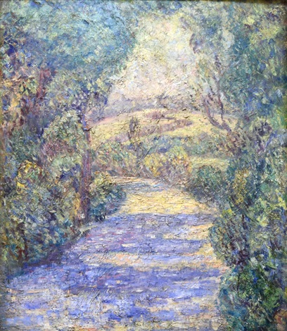 impressionistic landscape double sided by walter griffin