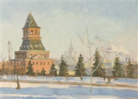 winter scene, moscow by viktor fedorov