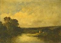 paisaje lacustre by leon victor dupré