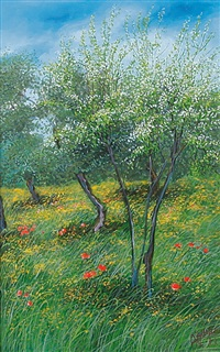 alberi e prato fioriti by franco azzinari