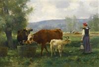 la jeune laitière avec son troupeau by julien dupré