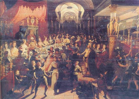 belshazzars feast by joos van winghe