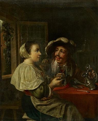 paar vor geöffnetem fenster beim wein trinken by carel de moor