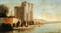 ruines au bord du fleuve by francois germain leopold tabar(t)