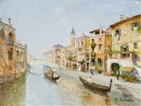 venetian canal scene by r. valentini