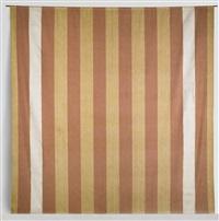 untitled (peinture acrylique blanche sur tissu rayé blanc et rouge) by daniel buren