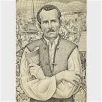 artists father, petru biltiu dancus (1860-1907) holding his book of poems flori cu spini by traian biltiu dancus